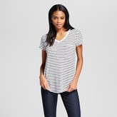 Women's V-Neck Striped Tee with Pocket - Mossimo