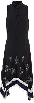 3.1 Phillip Lim Twist-front Embellished Satin-paneled Silk-crepe Dress