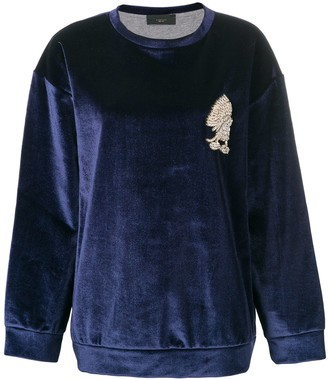 Lédition embellished detail velvet sweatshirt
