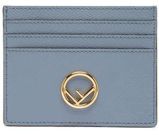Fendi F-plaque Grained-leather Cardholder - Womens - Blue