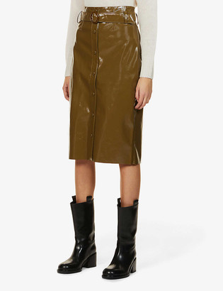 Samsoe & Samsoe Caroli patent high-waist woven midi skirt