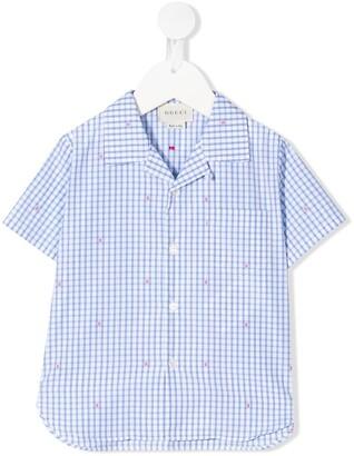 Gucci Kids Check Print Tiny Embroidery Shirt