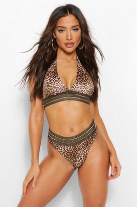 boohoo Geo Tape Leopard Halterneck Bikini