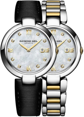 Raymond Weil Shine Diamonds, Gold PVD Plated Stainless Steel Watch and Interchangeable Straps Set