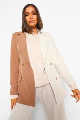 boohoo Colour Block Long Line Tailored Blazer