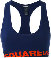 DSQUARED2 logo band sports bra - women - Cotton/Spandex/Elastane - 1
