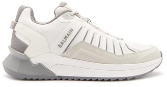 Balmain B-trail Leather And Mesh Trainers - Mens - White