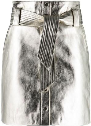 BA&SH Pomy metallic lambskin skirt