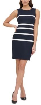 Tommy Hilfiger Petite Pique Scuba Stripe Sheath Dress