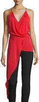Halston Sleeveless V-Neck Draped High-Low Top, Scarlet