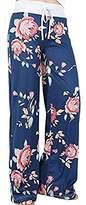 Happyyip Women's Casual Floral Print High Waist Drawstring Wide Leg Pants Lounge