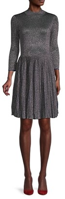 Ted Baker Metallic Pleated Fit-&-Flare Dress