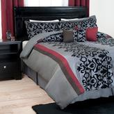 Trademark Global Leah Black Scroll 7-Piece Queen Comforter Set