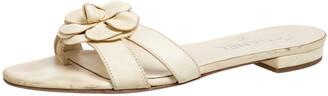 Chanel Beige Leather Camellia Open Toe Slide Sandals Size 37