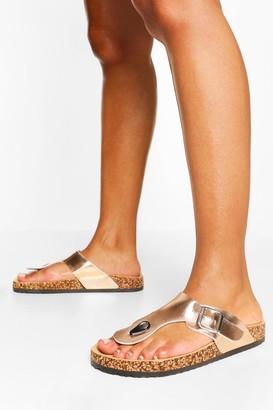 boohoo Toe Post Footbed Sandal