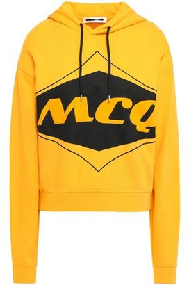 McQ Flocked Printed Cotton-jersey Hoodie