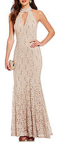 B. Darlin High Choker Neckline Sequin Lace Open-Back Long Trumpet Dress