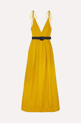Rebecca Vallance Greta Belted Cloque Gown - Yellow