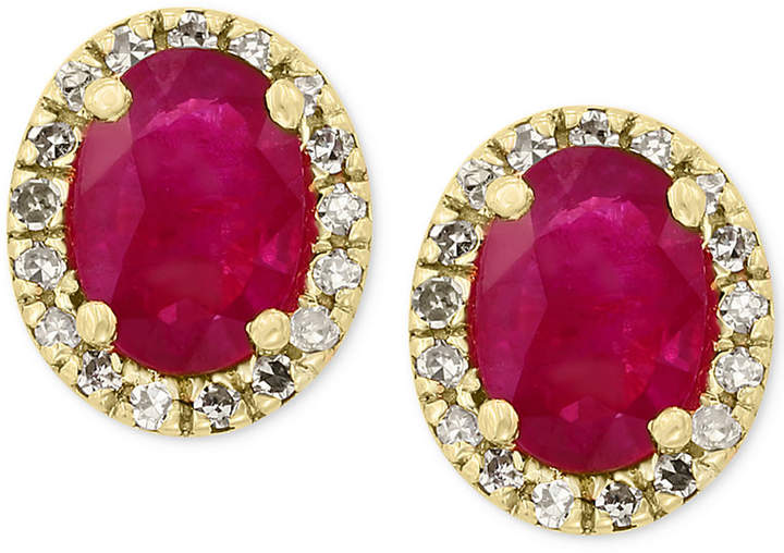 Effy Amore by Certified Ruby (1-1/8 ct. t.w.) and Diamond (1/8 ct. t.w.) Earrings in 14k Gold