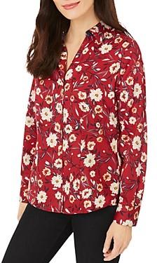 Foxcroft Floral Print Button Front Shirt