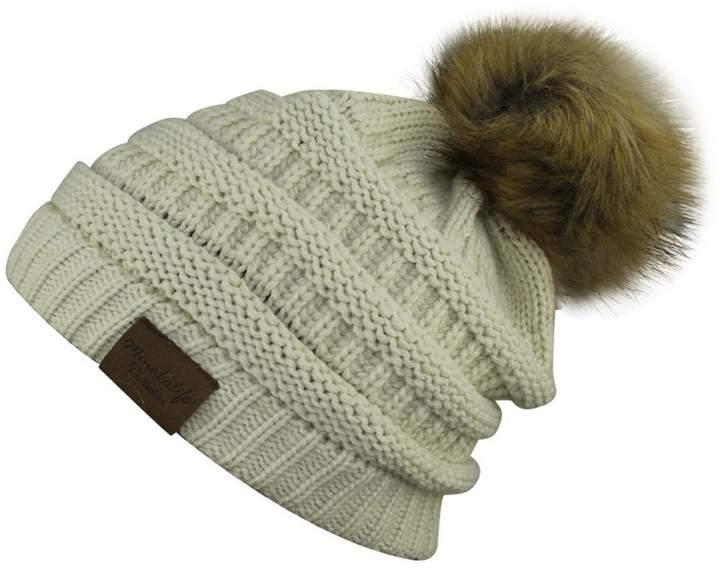 806ea28c4 MINAKOLIFE Soft Solid Ribbed Stretch Cable Knit Faux Fur Pom Pom Beanie Hat