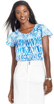 Style&Co. Top, Cap-Sleeve Printed Basketweave Collar