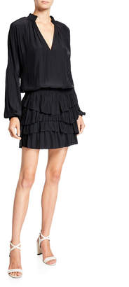 Ramy Brook Juno Tiered Long-Sleeve Short Dress