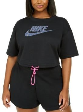 Nike Plus Size Logo-Print Cropped Top