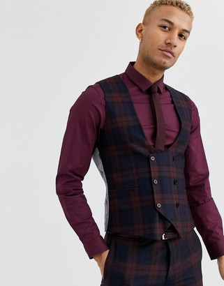 Twisted Tailor Ginger super skinny fit waistcoat in burgundy check