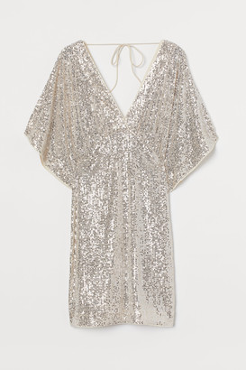 H&M Wide-sleeved Sequined Dress