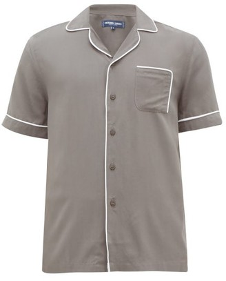 Frescobol Carioca Camp-collar Piped Faille Shirt - Grey