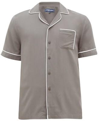 Frescobol Carioca Camp-collar Piped Faille Shirt - Mens - Grey