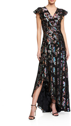 Shoshanna Medianoche Floral Metallic High-Low Dress