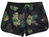 River Island Mens Black tropical print short swim shorts