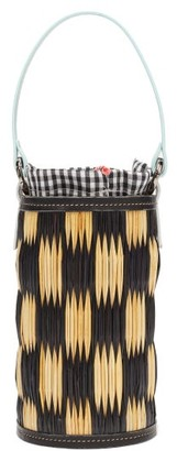 Heimat Atlantica - Cupid Mini Leather-trimmed Woven-reed Bucket Bag - Black Multi