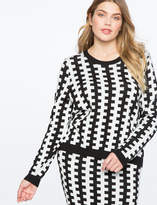ELOQUII Contrast Intarsia Sweater