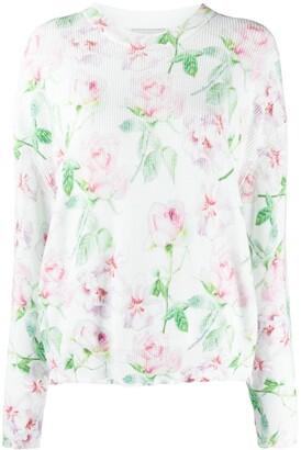 Laneus Distressed-Hem Rose-Print Sweater