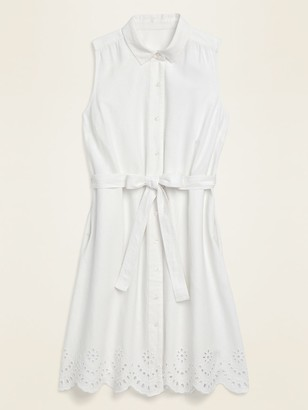 Old Navy Linen-Blend Sleeveless Tie-Belt Midi Shirt Dress for Women