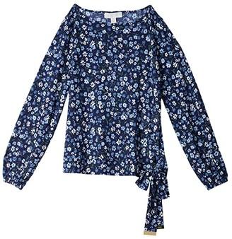 MICHAEL Michael Kors Garden Tie Long Sleeve Top (Chambray) Women's Clothing