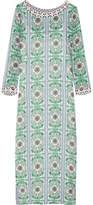 Tory Burch Garden Party Beaded Printed Silk-chiffon Maxi Dress - Green