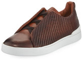 Ermenegildo Zegna Couture Triple-Stitch Pelle Tessuta Leather Low-Top Sneaker, Light Brown