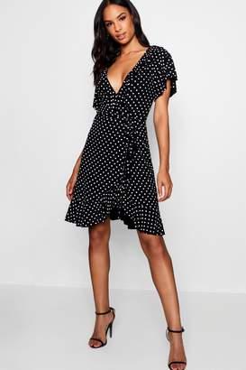 boohoo Tall Hannah Polka Dot Wrap Dress