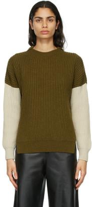 Loewe Khaki and Beige Ribbed Sweater