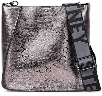 Stella McCartney Perforated Crinkled Metallic Faux Leather Shoulder Bag