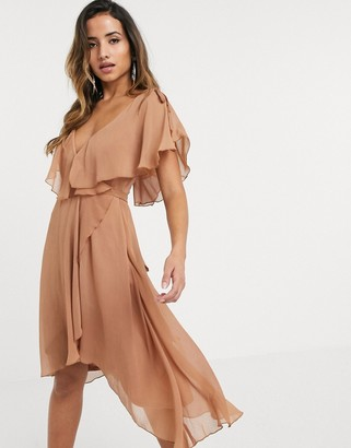 ASOS DESIGN midi split sleeve cape back dress with tie shoulder