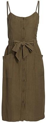 Rails Evie Button-Front Linen-Blend Dress