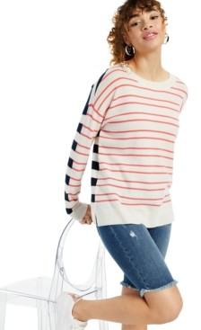 Charter Club Cashmere Mix it Up Stripe Long-Sleeve Crewneck Sweater, Created for Macy's