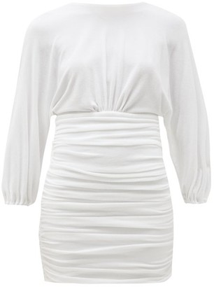 Alexandre Vauthier Ruched Terry Mini Dress - White