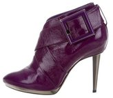 Sergio Rossi Patent Leather Round-Toe Ankle Boots