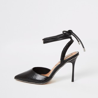 River Island Womens Black beaded tie ankle heeled court shoes